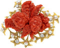 Estate Jewelry:Brooches - Pins, Coral, Diamond, Cultured Pearl, Gold Brooch, Peter Lindeman. ...