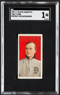1909-11 T206 Tolstoi Ty Cobb (Portrait, Red Background) SGC Poor 1