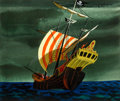 "Animation Art:Concept Art, Mary Blair Peter Pan ""Jolly Roger"" Ship Concept/Color Key Painting (Walt Disney, 1953)...."