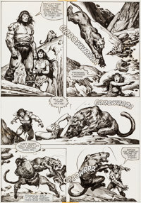 John Buscema and Ernie Chan Savage Sword of Conan #78 Pages 26 and 27 and Preliminary Original Art (Marvel, 1982).... (T...