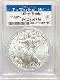 (10)2015-(W) $1 Silver Eagle, Struck at West Point, MS70 PCGS. PCGS Population: (19895). NGC Census: (625). MS70