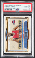 Basketball Cards:Singles (1980-Now), 2003 Hoops Hot Prospects LeBron James Cream of the Crop #1 PSA Gem Mint 10....
