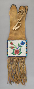 American Indian Art:Beadwork and Quillwork, A Cree Beaded Hide Tobacco Bag ... (Total: 0 )