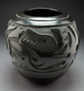 American Indian Art:Pottery, A Santa Clara Carved Blackware Jar...