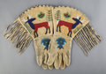 American Indian Art:Beadwork and Quillwork, A Pair of Plateau Pictorial Beaded Hide Gauntlets...
