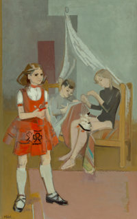 Françoise Gilot (French, b. 1921) La Marionette (Claude and Paloma Picasso with Germaine Brooks), 1955 Oil on can...