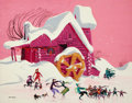 "Animation Art:Production Drawing, ""The Art of Art Riley"" Winter Scene Painting (Walt Disney, c. 1940s/50s)...."
