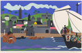 Prints & Multiples, Romare Howard Bearden (1911-1988). Home to Ithaca, from Odysseus Series, 1979. Screenprint in colors on paper. 22 x ...
