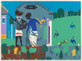 Prints & Multiples, Romare Howard Bearden (1911-1988). Circe into Swine, from Odysseus Series, 1979. Screenprint in colors on paper. 22 ...