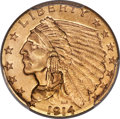Indian Quarter Eagles, 1914 $2 1/2 MS64+ PCGS....