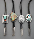 American Indian Art:Jewelry and Silverwork, Four Navajo Bolo Ties... (Total: 4 )