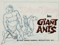 "Space Ghost ""Giant Ants"" Dino Boy Title Cel and Background Layout Drawing (Hanna-Barbera, 1966).... (Total: 3..."