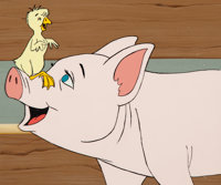 Charlotte's Web Wilbur and Jeffrey Production Cel and Key Master Background (Hanna-Barbera, 1973)