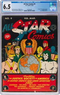 All Star Comics #9 (DC, 1942) CGC FN+ 6.5 Off-white to white pages