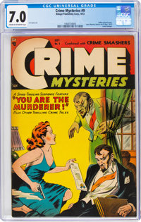 Crime Mysteries #9 (Ribage Publishing, 1953) CGC FN/VF 7.0 Cream to off-white pages