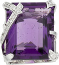 Luxury Accessories:Accessories, Chanel Diamond, Amethyst & 18k White Gold Ring. Condition: 1. Size 6. ...