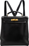 "Luxury Accessories:Bags, Hermès 28cm Black Calf Box Leather Kelly Ado Backpack Bag with Gold Hardware. Y Circle, 1995. Condition: 3. 11"" Wi..."