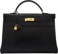 "Luxury Accessories:Bags, Hermès 40cm Black Calf Box Kelly with Gold Hardware. C Square, 1999. Condition: 3. 16"" Width x 11"" Height x 6"" Dep..."