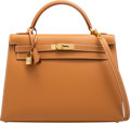 """Luxury Accessories:Bags, Hermès 32cm Gold Calf Box Leather Sellier Kelly Bag with Gold Hardware. D Square, 2000. Condition: 3. 12.5"""" Width ..."""