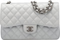 "Luxury Accessories:Bags, Chanel Silver Metallic Quilted Caviar Leather Double Flap Bag with Brushed Gunmetal Hardware. Condition: 2. 12"" Width ..."