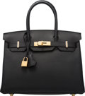 "Luxury Accessories:Bags, Hermès 30cm Black Togo Leather Birkin Bag with Gold Hardware. D, 2019. Condition: 1. 12"" Width x 8"" Height x 6"" De..."