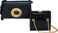 Judith Leiber Set of Two: Black Box Bag and Blue Lizard Evening Bag Condition: 2 See Extended Condition Report for S...