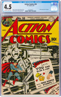 Golden Age (1938-1955):Superhero, Action Comics #58 (DC, 1943) CGC VG+ 4.5 Off-white to white pages....