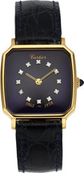 "Timepieces:Wristwatch, Cartier, 18k Gold, Diamond Dial ""Henry Ford II"" Presentation Watch, circa 1978. ..."