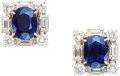 Estate Jewelry:Earrings, Sapphire, Diamond, Platinum, Gold Earrings, Aletto Brothers. ...