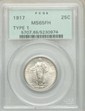 1917 25C Type One MS65 Full Head PCGS. PCGS Population: (1235/663). NGC Census: (754/404). MS65. Mintage 8,740,000