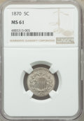 Shield Nickels: , 1870 5C MS61 NGC. NGC Census: (10/165). PCGS Population: (4/234). CDN: $210 Whsle. Bid for problem-free NGC/PCGS MS61. Mint...