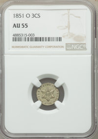 1851-O 3CS AU55 NGC. NGC Census: (31/373). PCGS Population: (56/493). CDN: $400 Whsle. Bid for problem-free NGC/PCGS AU5...