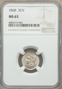 1868 3CN MS63 NGC. NGC Census: (107/252). PCGS Population: (179/308). MS63. Mintage 3,252,000