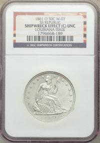 1861-O 50C -- Shipwreck Effect -- NGC Details. Unc. Ex: S.S. Republic, Wiley-07, a Louisiana Issue. NGC Cen