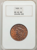 Large Cents, 1820 1C Large Date, N-10, R.2, MS64 Red and Brown NGC. NGC Census: (1/0). PCGS Population: (3/1). MS64....