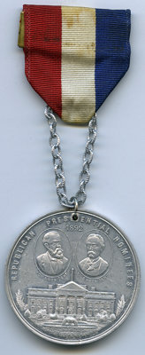 1892 Republican Presidential Nominees, Uncertified. Eglit-82, DeWitt-BH-1892-1. Aluminum, 44 mm, holed, With Ribbon