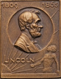 (1809-1865) Lincoln Plaque Uncertified, Bronzed; and a (1809-1865) Lincoln Plaque Uncertified, White Plaster. ... (Total...
