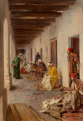Paintings, Gustavo Simoni (Italian, 1846-1926). A street in Biskra, Algeria, 1908. Oil on canvas. 35 x 23-3/4 inches (88.9 x 60.2 c...