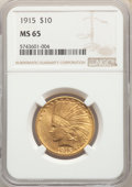 Indian Eagles: , 1915 $10 MS65 NGC. NGC Census: (92/26). PCGS Population: (78/10). CDN: $5,000 Whsle. Bid for NGC/PCGS MS65. Mintage 351,075...