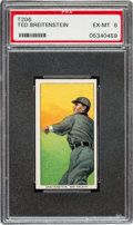 Baseball Cards:Singles (Pre-1930), 1909-11 T206 Old Mill Ted Breitenstein PSA EX-MT 6. ...