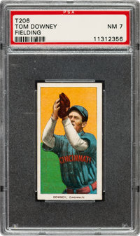 1909-11 T206 Sweet Caporal 350/25 Tom Downey (Fielding) PSA NM 7