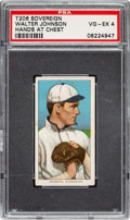 Baseball Cards:Singles (Pre-1930), 1909-11 T206 Sovereign 350 Walter Johnson (Hands At Chest) PSA VG-EX 4 - Pop Three, Four Higher for Brand. ...