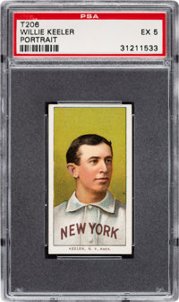 1909-11 T206 Sovereign 150 Willie Keeler (Portrait) PSA EX 5 - Pop One, Two Higher for Brand