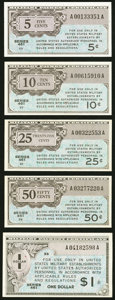 Military Payment Certificates:Series 461, Series 461 5¢ - $1 Denominations.. ... (Total: 5 items)