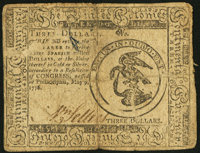 Continental Currency May 9, 1776 $3 Very Good-Fine