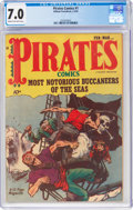 Golden Age (1938-1955):Adventure, Pirates Comics #1 (Hillman Publications, 1950) CGC FN/VF 7.0 Cream to off-white pages....