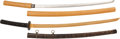 Edged Weapons:Swords, Gendaito in Resting Case and Mounted Bokken Training Sword.. ... (Total: 2 Items)