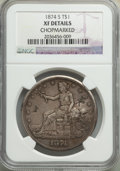 Trade Dollars: , 1874-S T$1 -- Chopmarked -- NGC Details. XF. NGC Census: (2/332). PCGS Population: (17/493). XF40. Mintage 2,549,000. ...