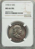 Franklin Half Dollars, 1958-D 50C MS66 Full Bell Lines NGC. NGC Census: (330/26). PCGS Population: (905/90). MS66. ...
