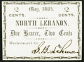 Obsoletes By State:Pennsylvania, North Lebanon, (PA)- S.B. Lehman 2¢ May, 1864 Choice Crisp Uncirculated.. ...